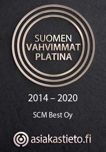 SCM Best Oy:lle on myönnetty Suomen vahvimmat platina -sertifikaatti.